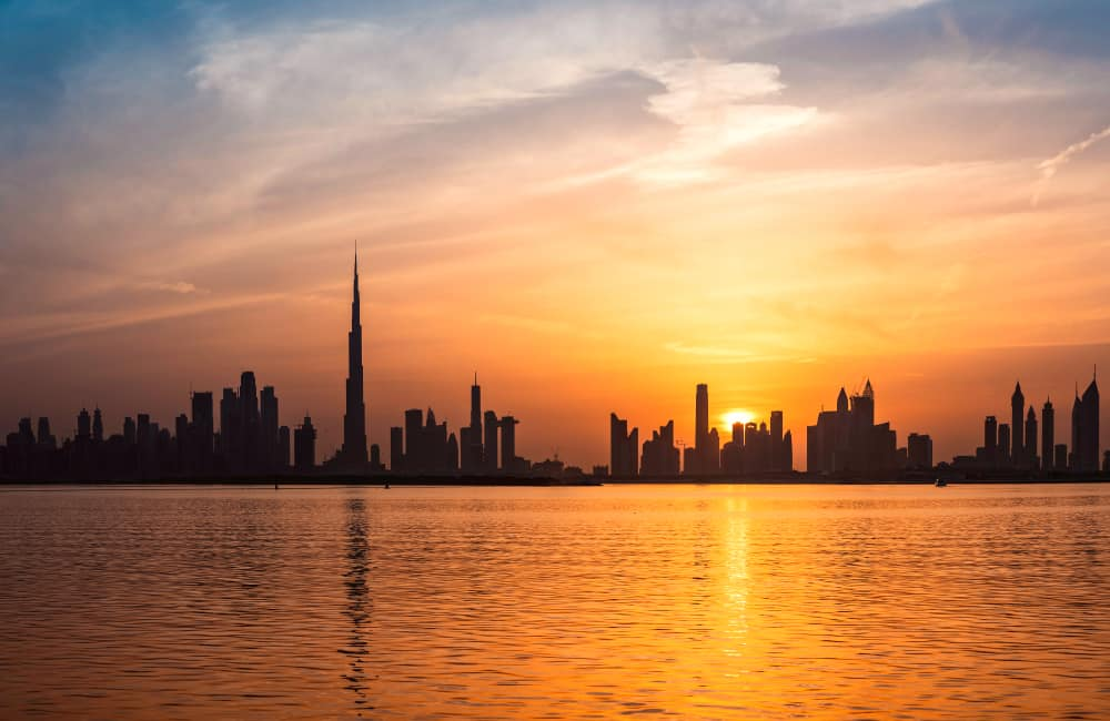 Burj Khalif waterfront sunset