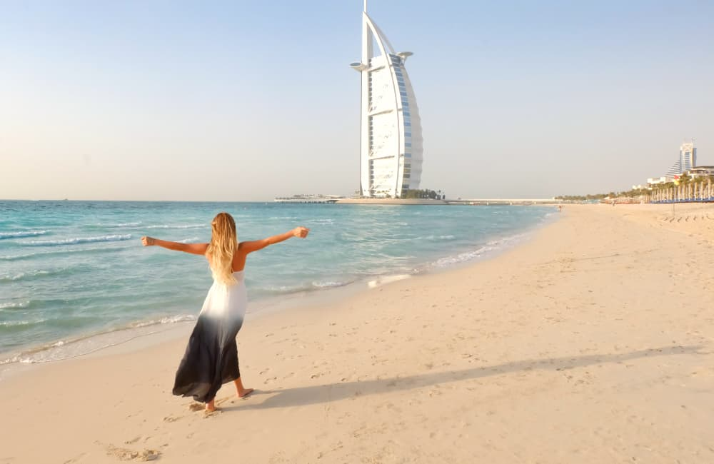 woman on beach in Dubai