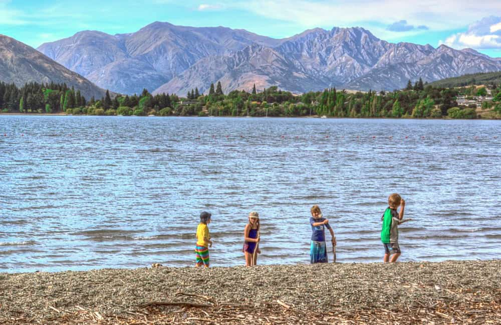 school children outdoors South Island New Zealand