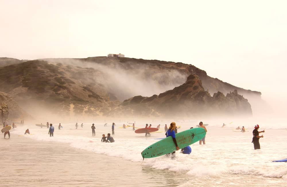 surfing waves in Portugal
