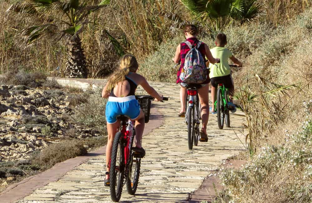 teenagers cycling Cyprus