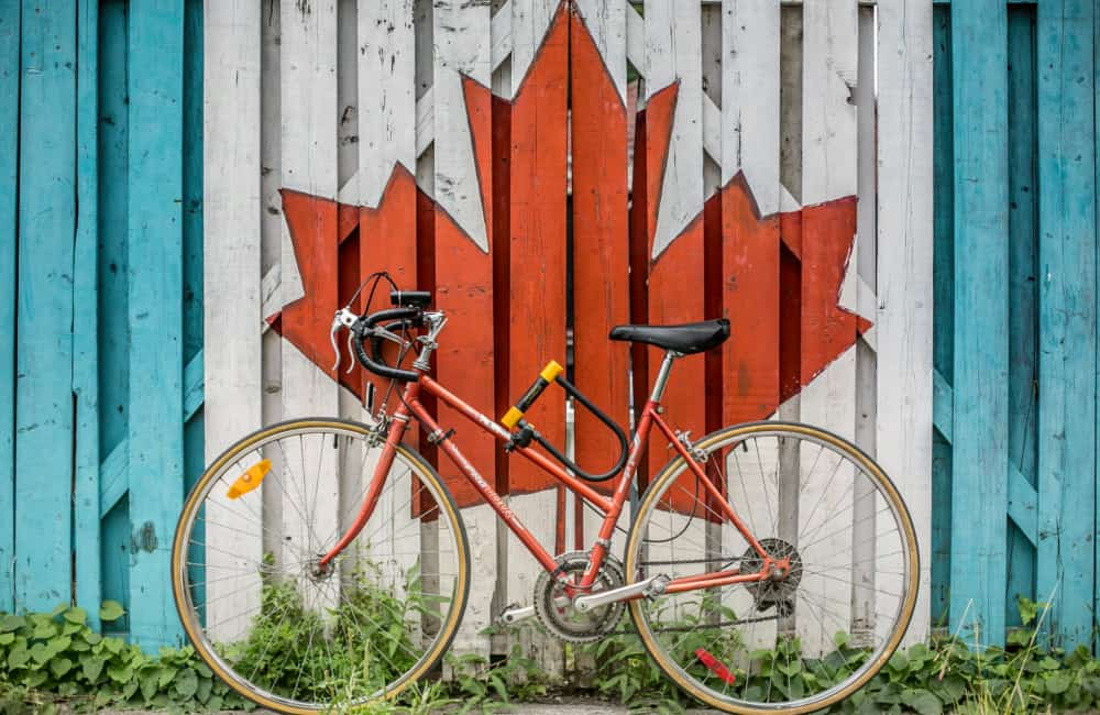 bicycle and Canadian flag