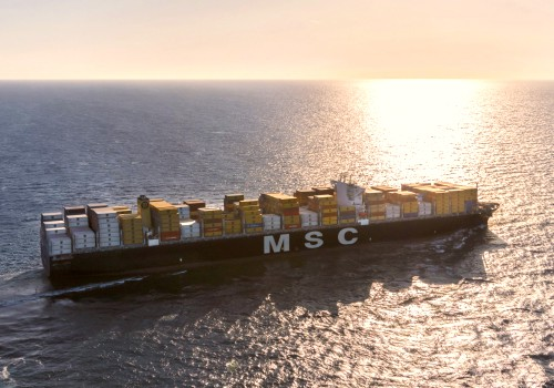 MSC container ship at sea